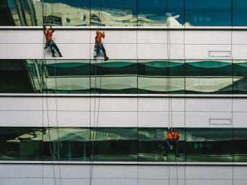 personnes nettoyant les vitres d'un immeuble en rappel